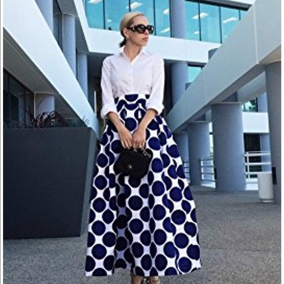 2bc04fda508 Persun Skirts | Navy Polka Dot And White Print Maxi Skater Skirt ...